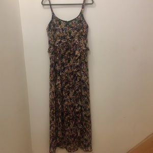 Spenser James Chiffon Floral Ruffle Maxi Dress